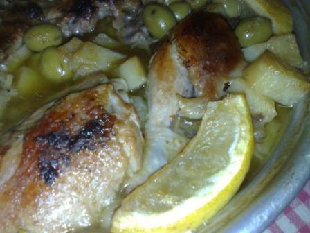 Poulet rôti olives et citron